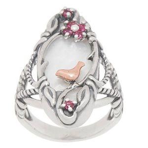 Gorgeous Carolyn Pollack MOP/Garnet 925/14k. Ring
